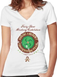 Fairy Bow Archery Exhibition Women's Fitted V-Neck T-Shirt