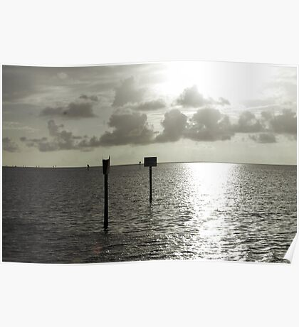Silver Sunset on the Gulf of Mexico Poster