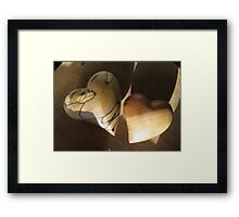 WOODEN HEARTS Framed Print