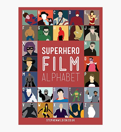 Superhero Film Alphabet Photographic Print