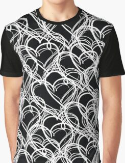 Black and White Vintage Heart Pattern Graphic T-Shirt