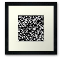 Black and White Vintage Heart Pattern Framed Print
