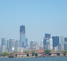 Ellis Island, Lower Manhattan, World Trade Center, View from Liberty State Park, New Jersey by lenspiro