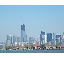 Ellis Island, Lower Manhattan, World Trade Center, View from Liberty State Park, New Jersey Photographic Print