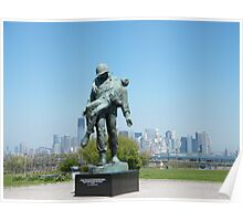 """""""Liberation"""", Monument to World War 2 Concentration Camp Survivors, Lower Manhattan in Backround, Liberty State Park, New Jersey Poster"""