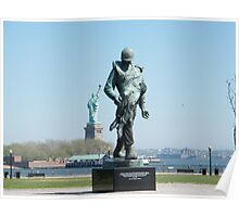 """""""Liberation"""", Monument to World War 2 Concentration Camp Survivors, Statue of Liberty in Backround, Liberty State Park, New Jersey Poster"""