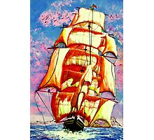 My acrylic painting of A Golden Clipper Ship Leaving Gibraltar Photographic Print