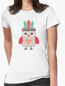 Hipster Owlet Cream Womens Fitted T-Shirt