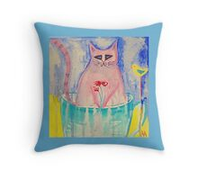 Cat in a Tea Cup Throw Pillow