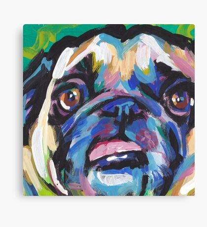 Pug Dog Bright colorful pop dog art Canvas Print