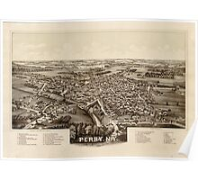 Panoramic Maps Perry NY Wyoming Co 1892 Poster