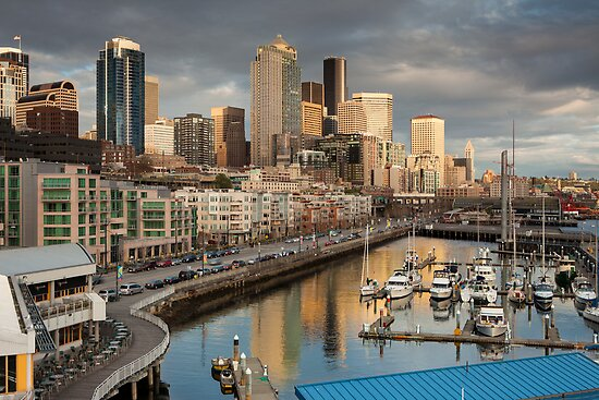 Downtown Seattle and Bell Harbor Marina by Jim Stiles