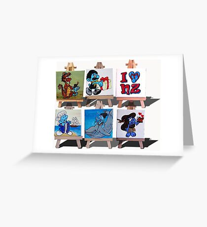 Kiwiana Smurfs  - I love New Zealand Greeting Card
