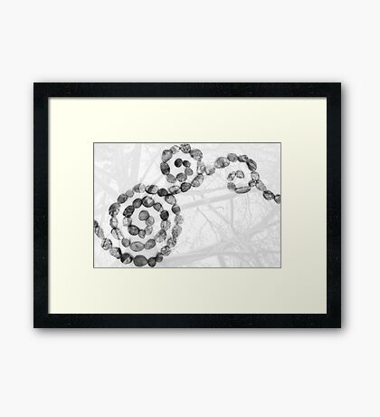 Black and White Pebbles and Trees Abstract Framed Print