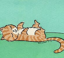 Brown and White Cat Sleeping on Back by zoel