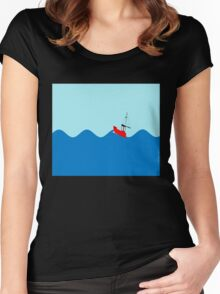 Fishing boat on High Seas Women's Fitted Scoop T-Shirt