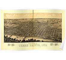 Panoramic Maps view of Terre Haute Ind 1880 Poster