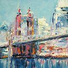 Cincinnati and Roebling Bridge  by KAT Griffin