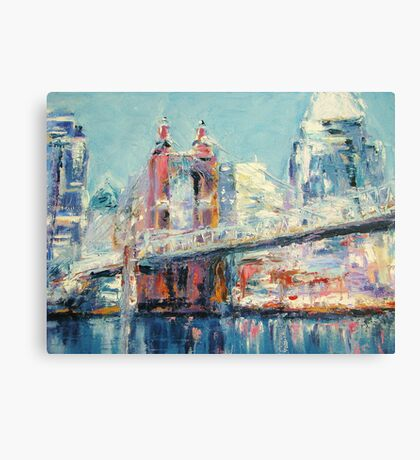 Cincinnati and Roebling Bridge  Canvas Print
