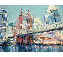 Cincinnati and Roebling Bridge  Photographic Print