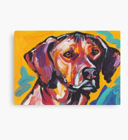 Rhodesian Ridgeback Bright colorful pop dog art Canvas Print