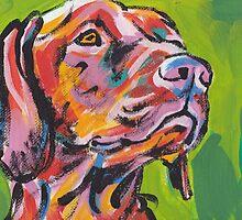 Vizsla Dog Bright colorful pop dog art by bentnotbroken11
