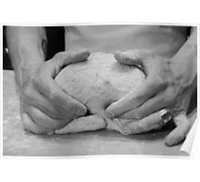 Hands of a baker kneading dough in a bakery at night.  Poster