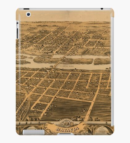 Panoramic Maps Bird's eye view of Batavia Kane County Illinois 1869 iPad Case/Skin