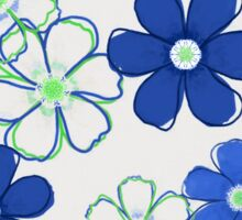 Blue and Green Floral Design Sticker