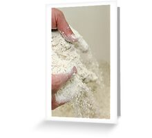 Baker sieves through the flour to check for lumps or contamination Greeting Card