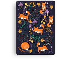 Foxes in magic forest Canvas Print