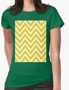 Yellow Chevron Pattern Womens Fitted T-Shirt