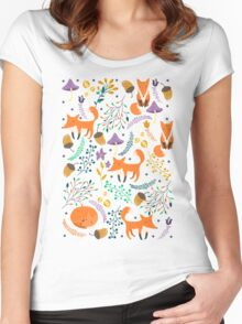 Foxes in magic forest Women's Fitted Scoop T-Shirt