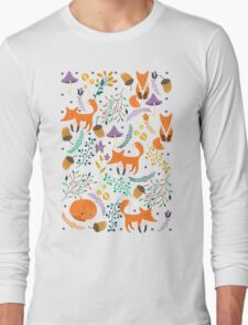 Foxes in magic forest Long Sleeve T-Shirt