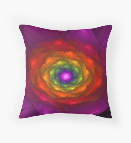 Rainbow Bloom Throw Pillow