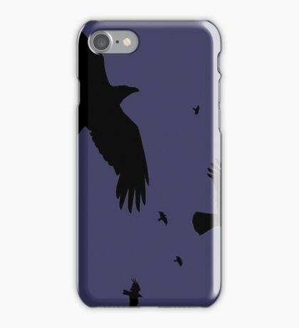 A Murder of Crows In Flight Vector Silhouette iPhone Case/Skin