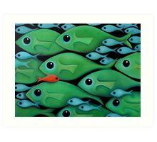 Green Fish School Art Print