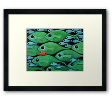 Green Fish School Framed Print