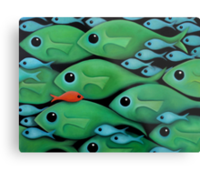 Green Fish School Metal Print