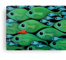Green Fish School Canvas Print
