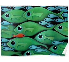Green Fish School Poster