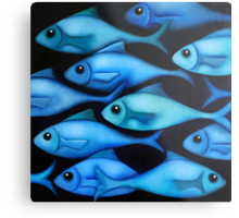 Blue Fish School Metal Print