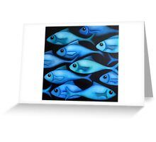 Blue Fish School Greeting Card