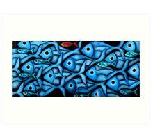 Large Blue Fish School Art Print
