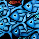 Large Blue Fish School by Georgie Greene