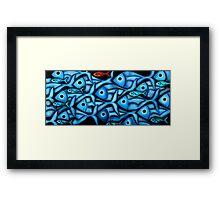 Large Blue Fish School Framed Print