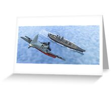 SBD Dive Bomber and the Japanese Battleship Yamato Greeting Card