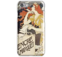 Vintage woman with harp and quill iPhone Case/Skin