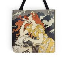 Vintage woman with harp and quill Tote Bag