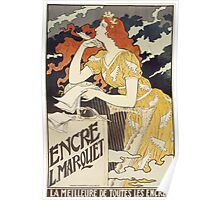 Vintage woman with harp and quill Poster